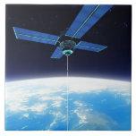 Estación espacial futurista azulejo cuadrado grande