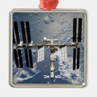 Estación espacial internacional 14 adorno navideño cuadrado de metal