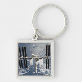 Estación espacial internacional 14 llavero cuadrado plateado