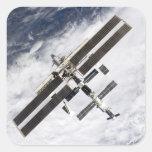 Estación espacial internacional 20 calcomanía cuadradas personalizadas
