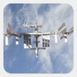 Estación espacial internacional 4 pegatinas cuadradas personalizadas