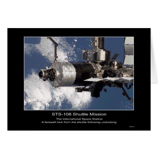 Estación espacial internacional según lo visto de  tarjeta de felicitación