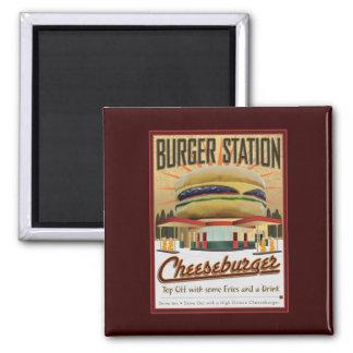 Estación-Imán de la hamburguesa Imán Cuadrado