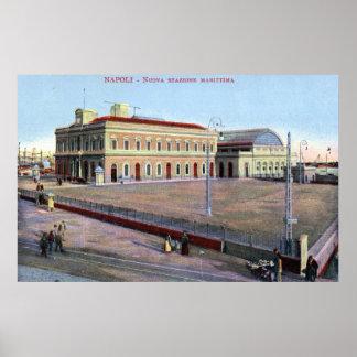 Estación marítima, vintage 1910 de Nápoles Italia Impresiones
