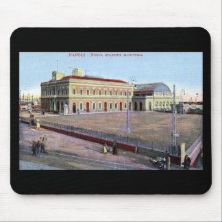 Estación marítima, vintage 1910 de Napoli Italia Mousepad