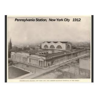 Estación Nueva York 1912 de Pennsylvania Tarjeta Postal