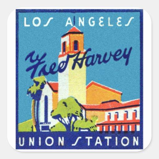 Estación retra Fred Harvey de la unión del LA del Pegatina Cuadrada
