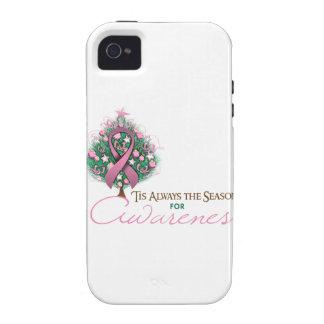 Estación rosada de la conciencia de Navidad de la Vibe iPhone 4 Fundas