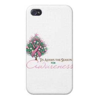 Estación rosada de la conciencia de Navidad de la iPhone 4 Cárcasa