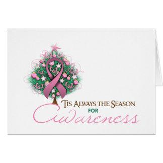 Estación rosada de la conciencia de Navidad de la Tarjeta De Felicitación