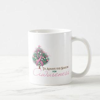 Estación rosada de la conciencia de Navidad de la  Taza Básica Blanca