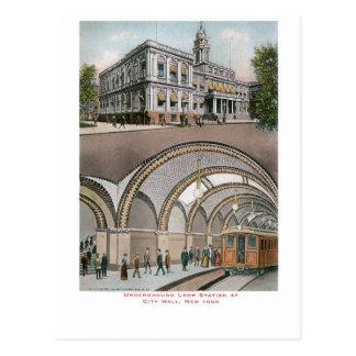 Estación subterráneo del lazo en ayuntamiento, postal