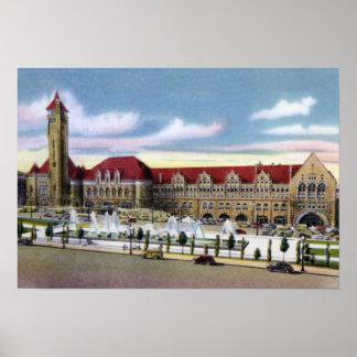 Estación y fuentes de la unión de St. Louis Missou Póster