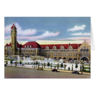 Estación y fuentes de la unión de St. Louis Missou Tarjetón