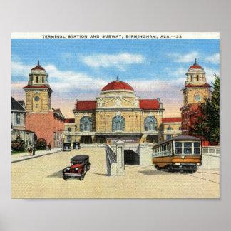 Estación y subterráneo, vintage de Birmingham, Ala Posters