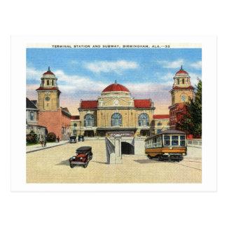 Estación y subterráneo, vintage de Birmingham, Ala Postales
