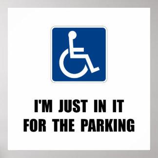 Estacionamiento de la desventaja póster