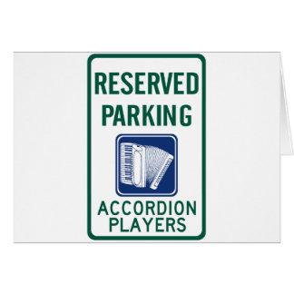 Estacionamiento del jugador del acordeón tarjeta de felicitación