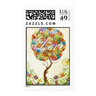 Estaciones del árbol de la flor del remiendo del sellos