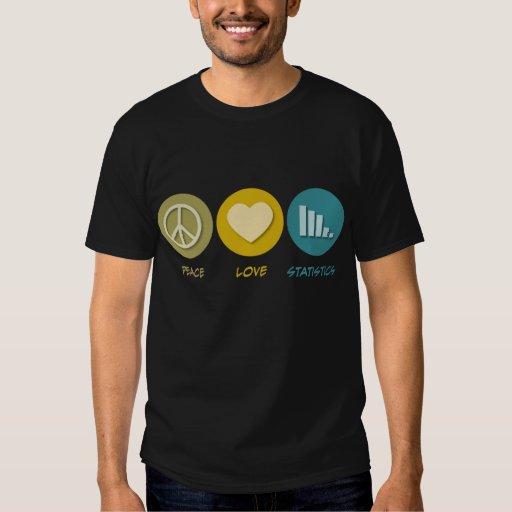 Estadísticas del amor de la paz camisas