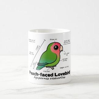estadísticas Melocotón-hechas frente del Lovebird Taza De Café
