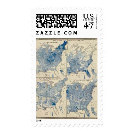 Estadísticas vitales, censo de Estados Unidos Sellos Postales