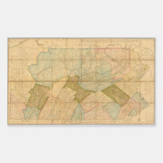 Estado 1792 del mapa de Pennsylvania leyendo a Pegatina Rectangular