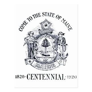 Estado 1920 del Centennial de Maine Postales