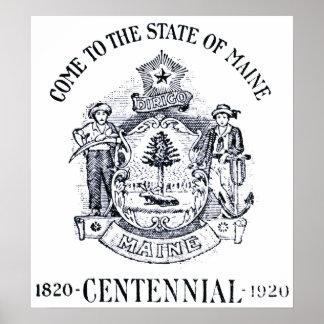 Estado 1920 del Centennial de Maine Posters