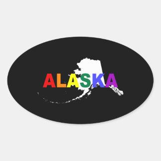 Estado 2 del arco iris de Alaska Pegatina Ovalada