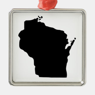 Estado americano de Wisconsin Adorno Cuadrado Plateado