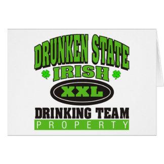 Estado borracho de consumición irlandés del equipo tarjeta de felicitación