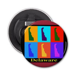 Estado colorido del mapa del arte pop de Delaware Abrebotellas Redondo