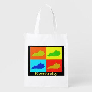 Estado colorido del mapa del arte pop de Kentucky Bolsas Reutilizables