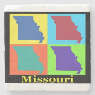 Estado colorido del mapa del arte pop de Missouri Posavasos De Piedra