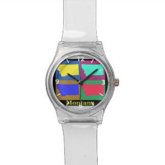 Estado colorido del mapa del arte pop de Montana Reloj De Mano