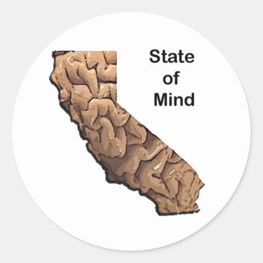 Estado de ánimo: California Pegatina Redonda