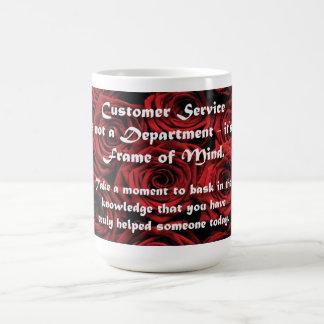 Estado de ánimo del servicio de atención al taza de café