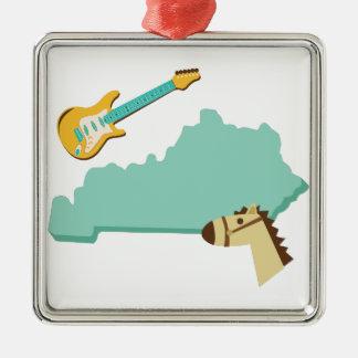 Estado de Kentucky Adorno Navideño Cuadrado De Metal