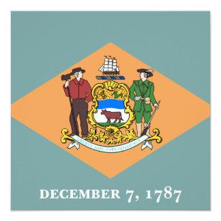 """Estado de la bandera de Delaware Invitación 5.25"""" X 5.25"""""""