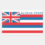 Estado de la bandera de Hawaii Rectangular Pegatinas