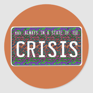 Estado de la crisis pegatina redonda