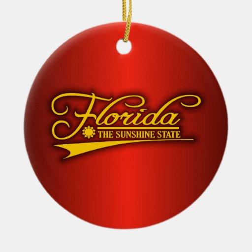 Estado de la Florida los míos Adorno Navideño Redondo De Cerámica