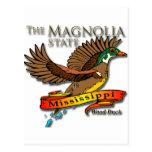 Estado de la magnolia del pato de madera de Missis Postales