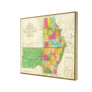 Estado de Missouri y del territorio de Arkansas Impresión En Lona Estirada