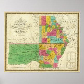 Estado de Missouri y del territorio de Arkansas Poster