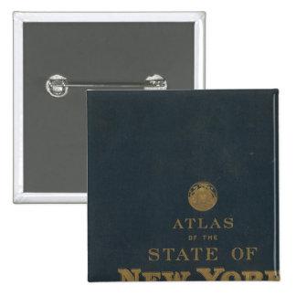 Estado de Nuevo York del atlas Pin Cuadrado