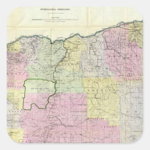 Estado de Oregon Pegatina Cuadrada