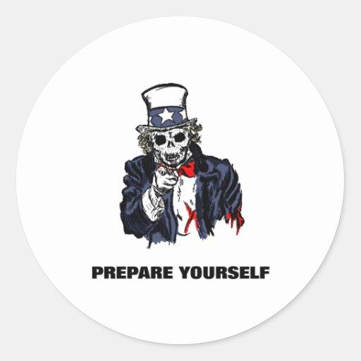 Estado de preparación del zombi de tío Scram Pegatina Redonda