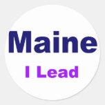 Estado del árbol del Maine-Pino Etiquetas Redondas